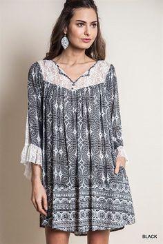 Printed Lace Trim Shift Dress Boho Chic Slouchy Bohemian Clothing Hippie 1XLarge #UrbanPeopleClothing #Tunic #Casual