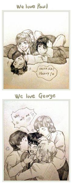 Ahhhh so cute ❤️❤️ Beatles Funny, Beatles Love, Beatles Art, Great Bands, Cool Bands, Fanart, Mon Cheri, Paul Mccartney Ringo Starr, Friends Moments