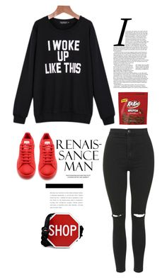 """Dgann&Harru"" by dganna ❤ liked on Polyvore featuring Topshop, adidas and Moschino"