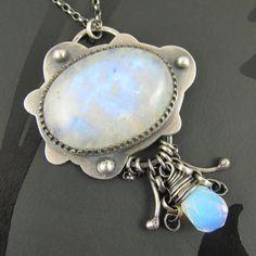 Rainbow moonstone, opalite, in sterling silver by Nikki Rees, UK