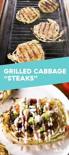 Cabbage Steaks Grilled Cabbage Steaks are so good, you'll forget they're low carb. Get the recipe at .Grilled Cabbage Steaks are so good, you'll forget they're low carb. Get the recipe at . Grilled Cabbage Steaks, Grilled Steak Recipes, Grilled Veggies, Grilling Recipes, Cooking Recipes, Grilled Cabbage Recipes, Grilled Steaks, Vegetarian Grilling, Healthy Grilling