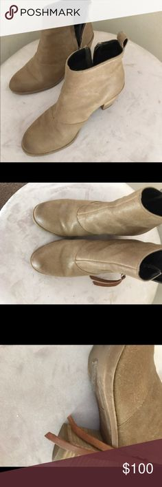 Flash Sale just In DV  leather booties Beautiful tan leather DV booties with wood heel EUC no marks no wear zippered closure with pull tie in matching leather plastic protector still in place not worn off as they were worn once, no wear to heel Dolce Vita Shoes Ankle Boots & Booties