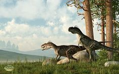 Monolophosaurs 'On The Hunt'. Art by Daniel Eskridge