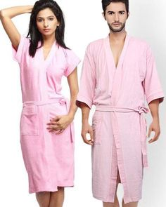 21fbbff061 Pack of 2 Wedding Bridal Unisex Bathrobe Soft Cotton - Baby Pink Turkish  Cotton Towels