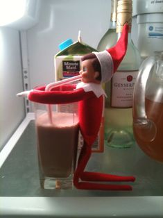 An Elf on the Shelf can't Live Without it!  Someone needed a chocolate fix!  Don't forget to share some chocolate love with your elf-friend!