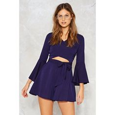 Nasty Gal Spot on the Mark Cut-Out Romper ($50) ❤ liked on Polyvore featuring jumpsuits, rompers, navy, playsuit romper, v neck romper, polka dot rompers, wrap romper and navy blue romper