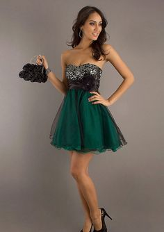 Black Sequin Top Strapless Green Homecoming Dress [Black Sequin Top short dress] - $155.00 : Prom Dresses On Sale, 60% off Dresses for Prom Night 2013
