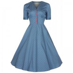 88fcb0ea7c55 Lindy Bop Blue Spotted Ionia Dress with red buttons, would make a perfect  summer dress