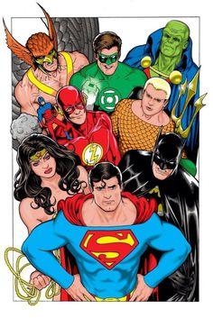 DC Comics of the Justice League of America Commission By Kevin Maguire Arte Dc Comics, Dc Comics Superheroes, Dc Comics Characters, Batman Comics, Gotham Batman, Batman Art, Batman Robin, Dc Heroes, Comic Book Heroes
