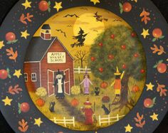 Folk Art Halloween Wooden Plate READY TO by RavensBendFolkArt
