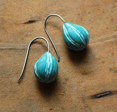 Buoy carved drop earrings in aqua by jibbyandjuna on Etsy, $38.00