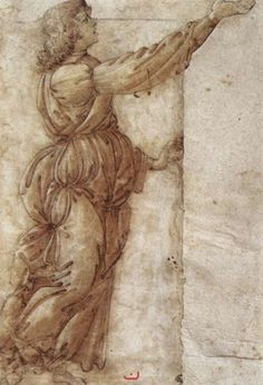 Sandro Botticelli-Angel c. 1490 Chalk, traced with pen, washed and heightened with white, 266 x 165 mm Galleria degli Uffizi, Florence
