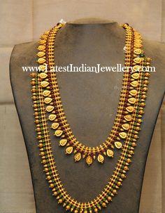 Reversible Kasu mala and Mullamottu Haram - Latest Indian Jewellery Designs Gold Temple Jewellery, Gold Wedding Jewelry, Bridal Jewelry, Gold Necklace Simple, Gold Jewelry Simple, Gold Bangles Design, Gold Jewellery Design, Hindus, Ruby Jewelry