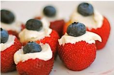 Red White and Blue Stuffed Strawberries