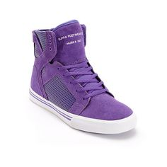 Kids can now elevate their skate game as well with the Supra Kids Skytop purple and white skate shoe. These Kids sized high top skate shoes feature a durable purple suede upper with perforated purple side panels, high memory polyurethane insole for comfo Fly Shoes, Skate Shoes, Nike Heels, Shoes Heels, Purple Sneakers, High Top Sneakers, Supra High Tops, Supra Shoes, Purple Suede