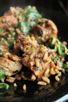 Marinated Chicken with Brown Rice and Spinach