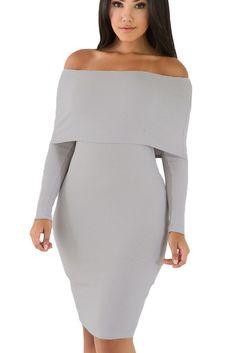 Prix  €25.80 Robes Pull Tricot Gris Manches Longues Epaules Denudees Femme  Hiver Pas Cher e63433c2d77f