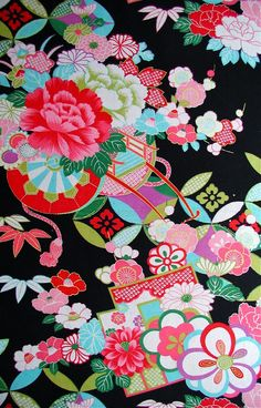"""Japanese antique kimono pattern"" This is so vibrant and full of life! Japanese Textiles, Japanese Patterns, Japanese Fabric, Japanese Prints, Japanese Kimono, Chinese Fabric, Japanese Flowers, Cute Japanese, Japan Design"