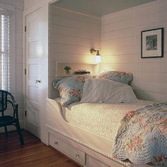 Furniture - Bedrooms : Twin built-in berths with storage underneath flank this bunk room. Alcove Bed, Bed Nook, Home Bedroom, Bedroom Decor, Bunk Beds Built In, Coastal Living Rooms, Bedroom Storage, Storage Beds, Storage Spaces