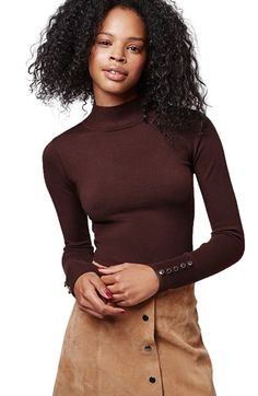 Topshop Funnel Neck Long Sleeve Top