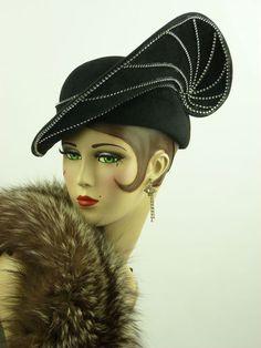 3ec1748dcbb368 Vintage Hat Jack McConnell Black Cloche Rhinestones Red Feath Orig Stunning  | eBay Vintage Outfits,