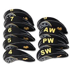 Craftsman Golf Set of 9pcs (4,5,6,7,8,9,A,S,P) Eagle Shield Neoprene Golf Club Head Cover Iron Protective Headcover For Mizuno Titleist, Callaway, Ping, Taylormade, Cobra, Nike, Etc. (Black & Yellow) -- Find out more about the great product at the image link.