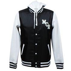 My Chemical Romance hooded varsity jacket on Wanelo