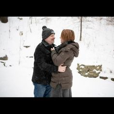 """MN Wedding Photographers on Instagram: """"Us out in the falling snow today. So here's a bit about us, cuz we haven't done one of these in a while. First off, both of us absolutely…"""" Snow Today, First Off, Winter Engagement, Engagement Photography, Photographers, This Is Us, Winter Jackets, Photo And Video, Wedding"""