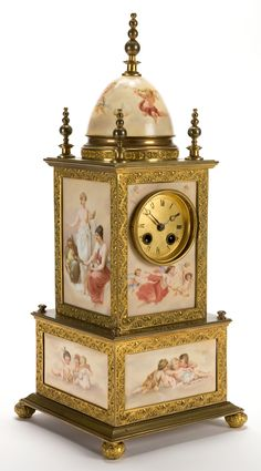 AN AUSTRIAN PORCELAIN AND GILT METAL CLOCK IN THE STYLE OF ROYAL VIENNA . Attributed to Royal Vienna, Vienna, Austria
