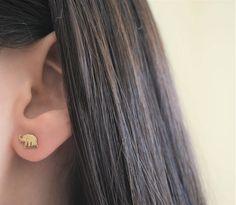 Gold Elephant Earrings. Sterling Silver Small Elephant Earrings. Rose Gold Elephant Earrings. Silver Earrings. by Jadorelli on Etsy
