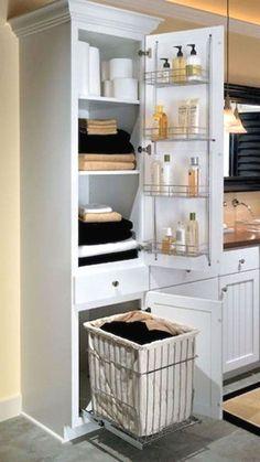 15 DIY Ideas for Bathroom Renovations – Diy Bathroom İdeas Small Bathroom Storage, Bathroom Closet, Bathroom Design Small, Bathroom Styling, Bathroom Interior Design, Modern Bathroom, Master Bathroom, Bathroom Organization, Ikea Bathroom