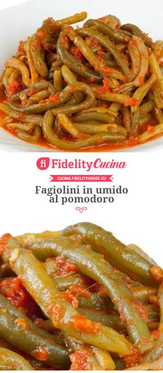 Fagiolini in umido al pomodoro Stewed green beans with tomato dietetici Italian Recipes, Vegan Recipes, Green Beans And Tomatoes, Antipasto, Stew, Risotto, Slow Cooker, Food And Drink, Menu