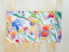Throw Rug with Watercolor Floral Design by pineapplebaystudio.