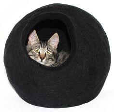 XL Handmade felted wool Cat Bed. Black. Cocoon by WoolWalkerShop, $124.00