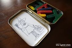 awesome idea. melt old crayons into letters spelling your kids names and print tiny coloring sheets and keep them in an old tin box (altoids box)to take with you in restuarants or dr. office, etc.