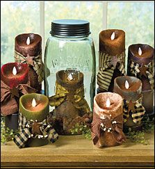 These primitive flameless candles have amazing realistic flickering flames. Available in three sizes and various colors. Order these items at www.theredbrickcottage.com. See more country products in the March issue of Country Sampler: http://www.samplermagazines.com/February_March_2014_Country_Sampler_Pre_sale_p/c314b001a.htm