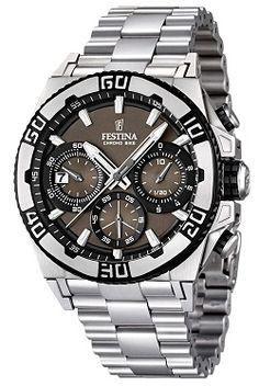 Festina F16658/4 Tour Chrono 2013 Mens Watch, matt solid stainless steel bracelet - Price: 284,05 EUR http://www.uhrcenter.de/watches/festina/tour-chronos/festina-tour-chrono-2013-herrenuhr-f16658-4/