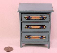 Shabby Chic wood inlay French blue worn by AuntElliesMiniatures