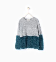 Image 1 of Two-tone knit sweater from Zara