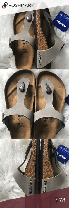 BNWT Birkenstock Stone Gizeh 36 Brand new with tags & box. Box might not be in perfect shape due to handling. Beautiful birkibuc in the popular stone color. Sz 36 regular width Please know your size in Birks before ordering. I can only guarantee I will be sending the European size stated on the listing. All items are inspected throughly and filmed before shipment.  Price is FIRM   Thanks! Birkenstock Shoes Sandals