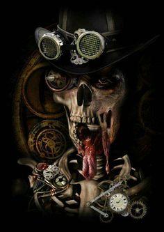 Steampunk 02 by ChrisBryanCreative on deviantART Skull Face, Human Skull, Spooky World, Crane, Conceptual Sketches, Skull Artwork, Skull Fashion, Arte Horror, Skull Tattoos