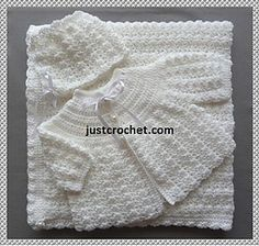 Résultat d'images pour Baby Sailor Layette Crochet Free Patterns Crochet Baby Sweater Pattern, Crochet Baby Jacket, Crochet Baby Sweaters, Baby Sweater Patterns, Crochet Baby Clothes, Newborn Crochet, Baby Knitting Patterns, Baby Blanket Crochet, Baby Patterns