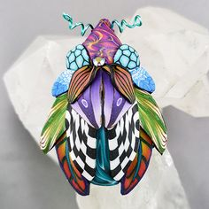 One of a kind bug brooch. Polymer Clay Art, Bugs, Swarovski Crystals, Brooch, Turquoise, Color, Jewelry, Design, Fimo