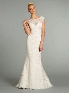 Trumpet/Mermaid Bateau Lace Satin Floor-length White Buttons Wedding Dresses at Millybridal.com