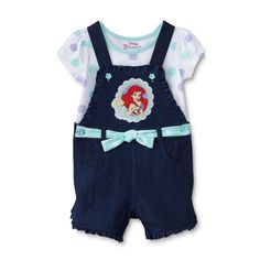 The Little Mermaid Ariel Toddler Girls Tee and Shortall Set (3T, Mint Green Ariel). Extra soft and easy to care for; Embroidered, sublimated, glittered graphics. Taped collar; Double stitched hems; Buttons on straps; Denim fabric. Functional pockets front and back; 3D bow; Ruffle details. Features Disney's The Little Mermaid Princess Ariel images.