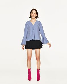 GINGHAM TOP WITH BELLED SLEEVES-View All-TOPS-WOMAN | ZARA United States