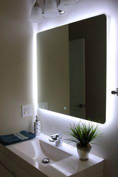 Details about Windbay 19 24 30 36 48 60 Led Bathroom Mirror. Led Mirror Bathroom, Mirror Wall Bathroom, Mirror With Lights, Bathroom Decor, Bathrooms Remodel, Illuminated Mirrors, Bathroom Mirror Lights, Bathroom Lighting, Bathroom Design