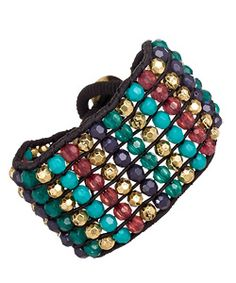 Blu Bijoux Multi Color Beaded Stretch Bracelet