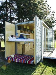 This is the Port-a-Bach container home. The up-cycling containers can be an effective answer for large scale projects if portability, site access, robustness and security are required.