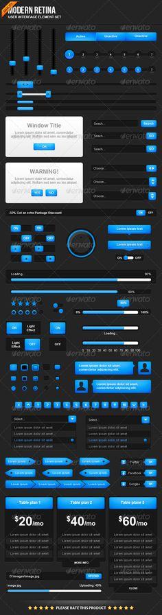 Modern Retina UI Element Set - #User #Interfaces #Web Elements
